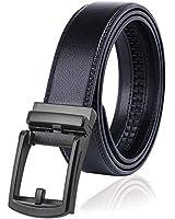 BLUE SINCERE 本革 ベルト メンズ オートロック式 穴なし 大きいサイズ ビジネス カジュアル 長さ120 cm 【 グレー バックル 】ブラック( CB1bl-g )