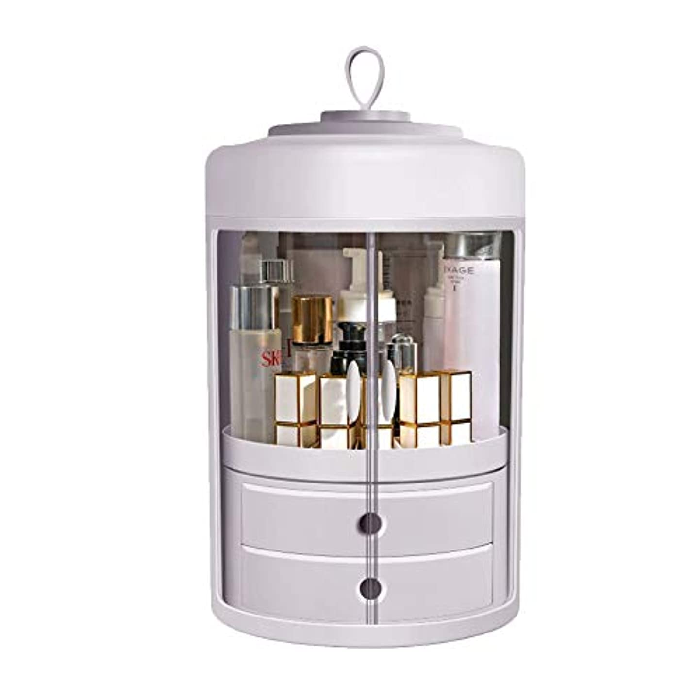 ネイティブパーティション長いです化粧品収納 コスメ収納ボックス メイクケース 360度回転 防塵 防水 取っ手付き 旅行用 化粧ケース付き 二つ引き出し 透明