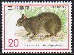 自然保護シリーズ第1集「アマミノクロウサギ」の切手/1974年発行1種