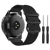 MoKo Band Compatible with Garmin Fenix 5, Fine Woven Nylon Adjustable Replacement Strap with Metal Buckle for Garmin Fenix 5/5 Plus/6/6 Pro/Instinct/Forerunner 935/Approach S60 Smart Watch - Black
