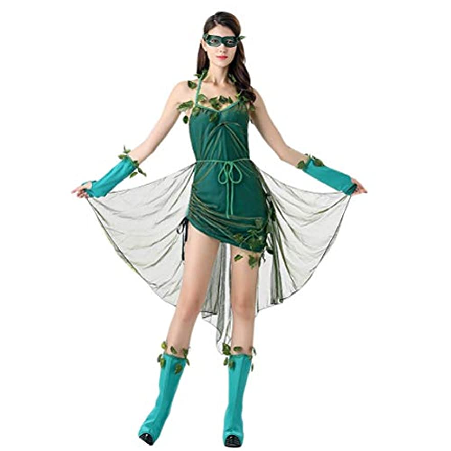 木製最小化するカセットBESTOYARD ハロウィンステージの衣装美しいエルフの衣装森の悪魔の女神女性のコスプレ衣装ユニフォームパーティードレススーツ