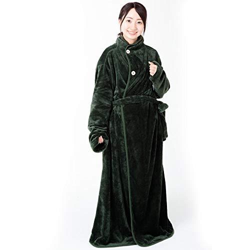 アイリスプラザ 着る毛布 モスグリーン L Lサイズ 無地 FDRM-001-L