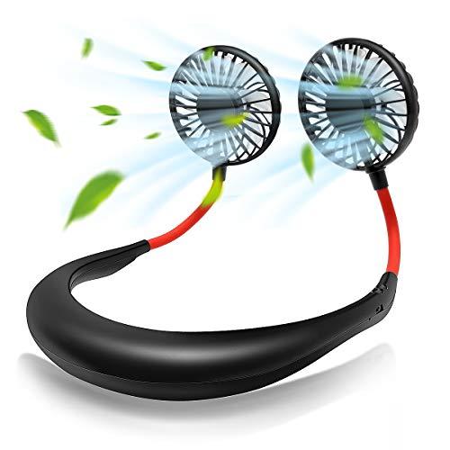 Niccen 携帯扇風機 2019年最新モード 首掛け扇風機 静音 運動用 超大容量1800 持ち運びに便利 360°角度調整 7枚羽根 ダブルファン 七彩ライト付き USB充電式 熱中症対策 (黒)