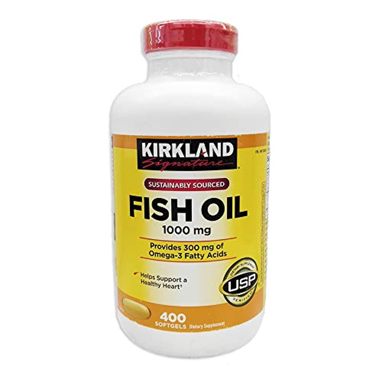モネ回答急速なKirkland Signature Natural Fish Oil Concentrate with Omega-3 Fatty Acids, 400 Softgels, 1000mg [並行輸入品]