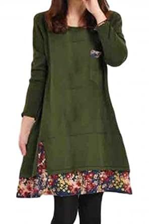 (ウィリング) Willing レディースファッション ワンピース 大きいサイズ 重ね 着 風 長袖 小 花 裾 柄 キュット (04.グリーン M)