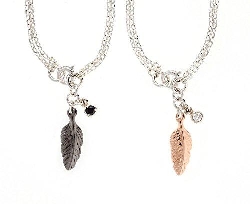 [해외]실버 2way 쌍 발찌 &  목걸이 깃털 & 큐빅 커플 틀어 | ZA-075-PA/Silver 2way Pair Anklet & Necklace Feather & Cubic Zirconia Couple Not Leaving | ZA-075-PA
