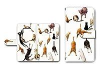 【ネコいっぱい柄】Galaxy S8対応 手帳型ケース カメラ穴搭載 ダイアリー スマホカバー レザー製