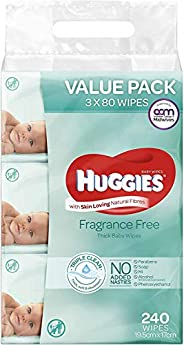 Huggies Baby Wipes Fragrance Free Value Bundle Pack (3x80 Pack)