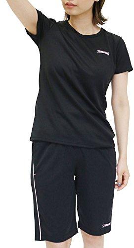 SPALDING(スポルディンク) ランニングウェア 上下セット ドライ Tシャツ ジャージ ショートパンツ レディース ブラック M