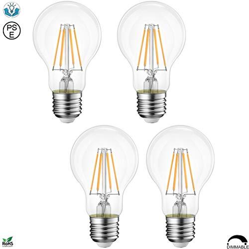 LED電球 A19 (A60) 口金 E26 フィラメント電球色 2700K 360度発光 調光可 全光束400LM 一般電球40W形相当 クリアタイプ アンティーク電球 シャンデリア用 消費電力4.5W PSE認証取得 4個入り