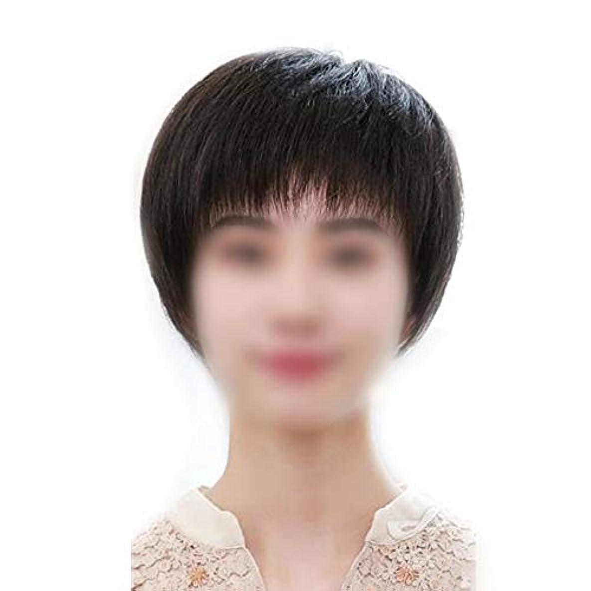 強度おばさん先史時代のYOUQIU 女子ショートヘアのフルハンド織実ヘアウィッグ現実的な自然に見えるウィッグ (色 : Dark brown)
