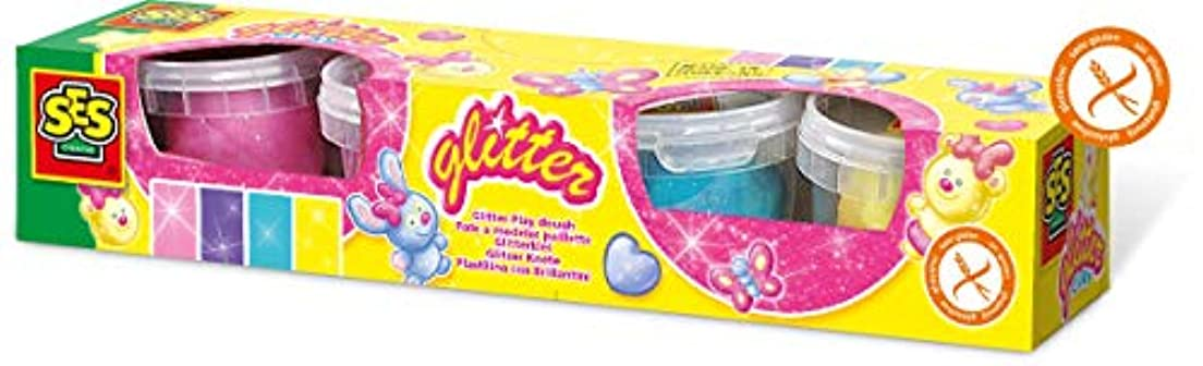 SES Creative 4 Pk Super Clay Glitter-Assorted Colours Arts and Crafts