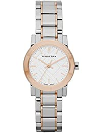 腕時計 バーバリー Burberry White Dial Rose Gold Ion-plated Bezel Ladies Watch BU9205【並行輸入品】
