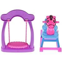 Perfk コレクション 12インチバービー人形用 保育園家具 赤ちゃんスイング ロッキング馬 おもちゃキット