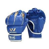 ボクシンググローブ、ハーフフィンガーアダルトレザー三田ファイティングムエタイファイティングプロフェッショナルトレーニングサンドバッググローブ、 (Color : Blue, Size : 7OZ)