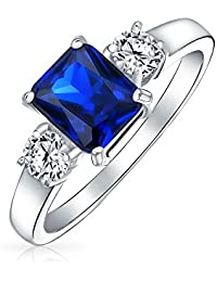 Bling Jewelry 925 Silver Emerald Cut Sapphire Color CZ 3 Stone Engagement Ring