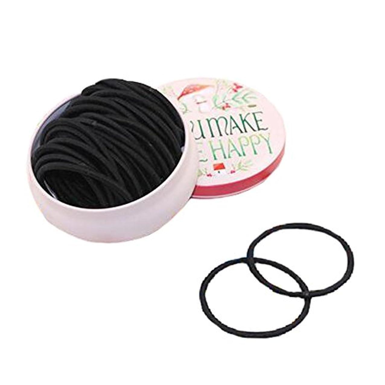 シェード湿度分析ウィメンズヘアゴム厚髪ネクタイポニーテールホルダー、黒、35個、#B