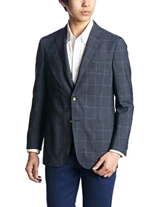 Wool Polyester Windowpane 2-button Patch Pocket Jacket 3122-110-0361: Navy