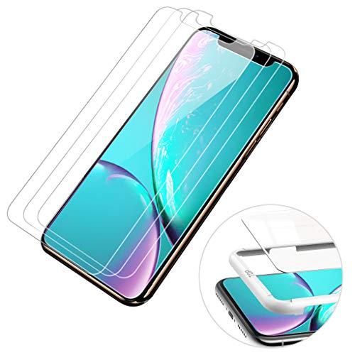 【3枚セット】BRG iphone XR ガラスフィルム 液晶強化保護 自動吸着【ガイド枠付き】日本製素材旭硝子製 業界最高硬度 コンパチブル iphone XR フィルム アイフォン XR 強化ガラスフィルム 高透過率 3Dタッチ対応(iphone XR,6.1インチ)