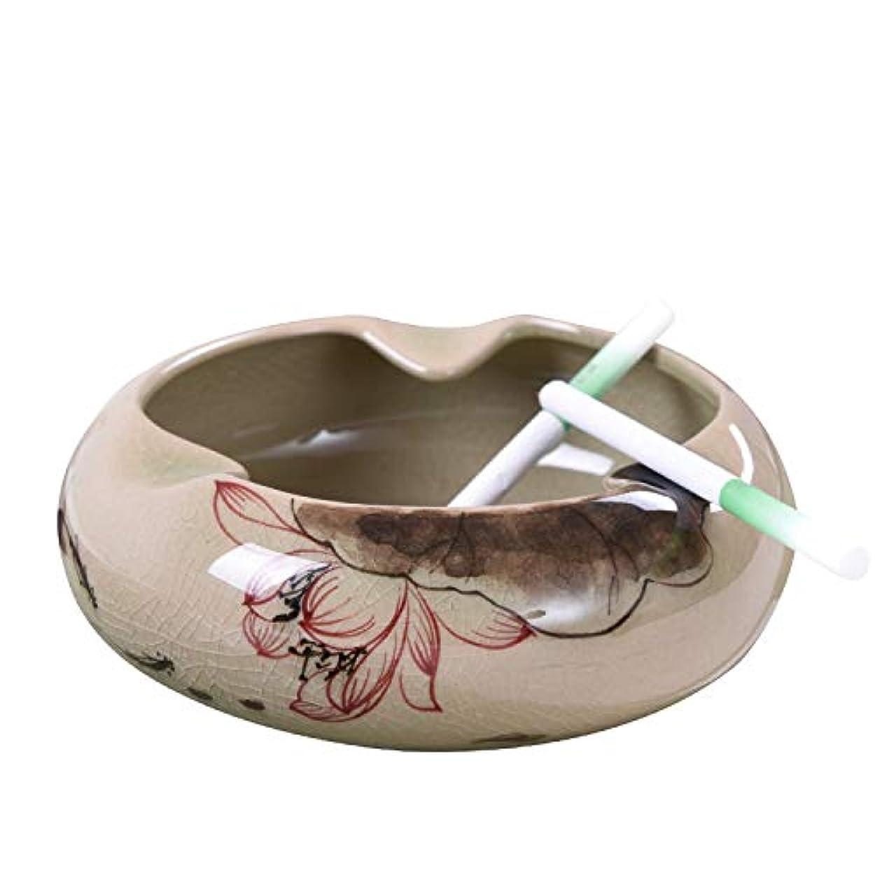 鯨兵士序文灰皿の手は、セラミックの中国のレトロスタイルの葉の家のコーヒーテーブルの家を描いた