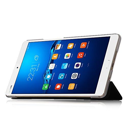 『Huawei MediaPad M3 8.4/ NTT docomo dtab d-03Gケース,【IVSO】Huawei MediaPad M3 8.4上質カバー スタンド機能 半透明PC + PUレザー ケース - Huawei MediaPad M3 8.4専用上質ケース 超薄型 最軽量(ブラック)』の3枚目の画像