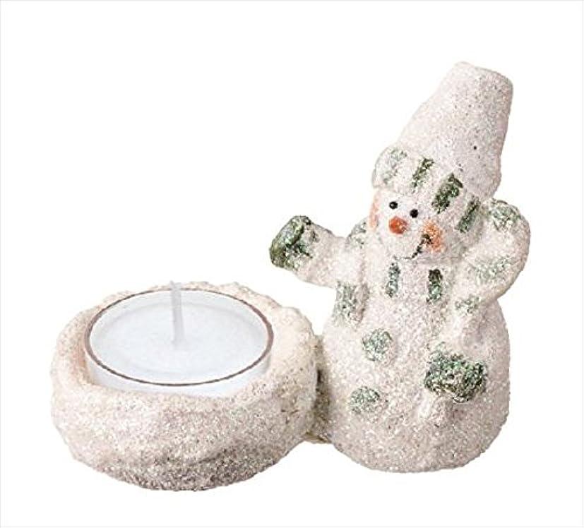 可動式食べるいっぱいカメヤマキャンドル(kameyama candle) グリッタースノーマンホルダー 「 グリーン 」