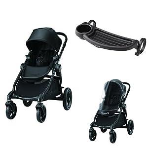 【セット買い】baby jogger(ベビージョガー) マルチユースベビーカー city select (シティセレクト) ブラック BK+純正アクセサリー(チャイルドトレイ/レインカバー)