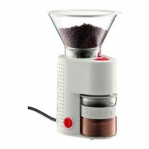 キッチンインテリアと機能を兼ねた逸品★ダブルグラス方式で、コーヒー末が静電気でボディ内部に飛散するのを防ぎます。 ボダム ビストロバリ・コーヒーグラインダー  ホワイト【並行輸入】
