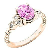 18K ローズゴールド 8X6 mm オーバル人工宝石&ラウンドダイヤモンド レディース ユニークヴィンテージ婚約指輪