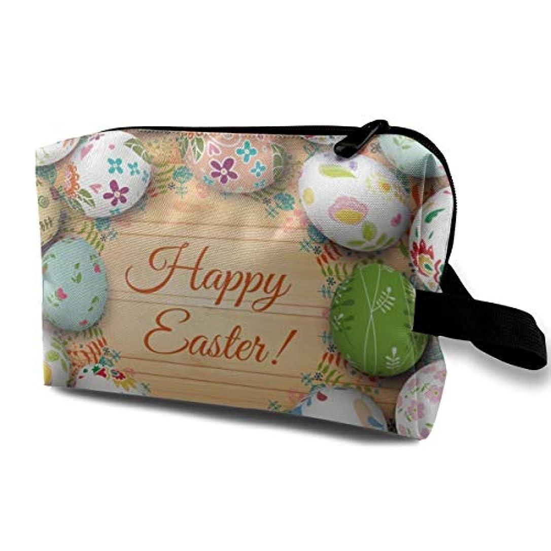 空港あざ運河Easter Card And Eggs 収納ポーチ 化粧ポーチ 大容量 軽量 耐久性 ハンドル付持ち運び便利。入れ 自宅?出張?旅行?アウトドア撮影などに対応。メンズ レディース トラベルグッズ
