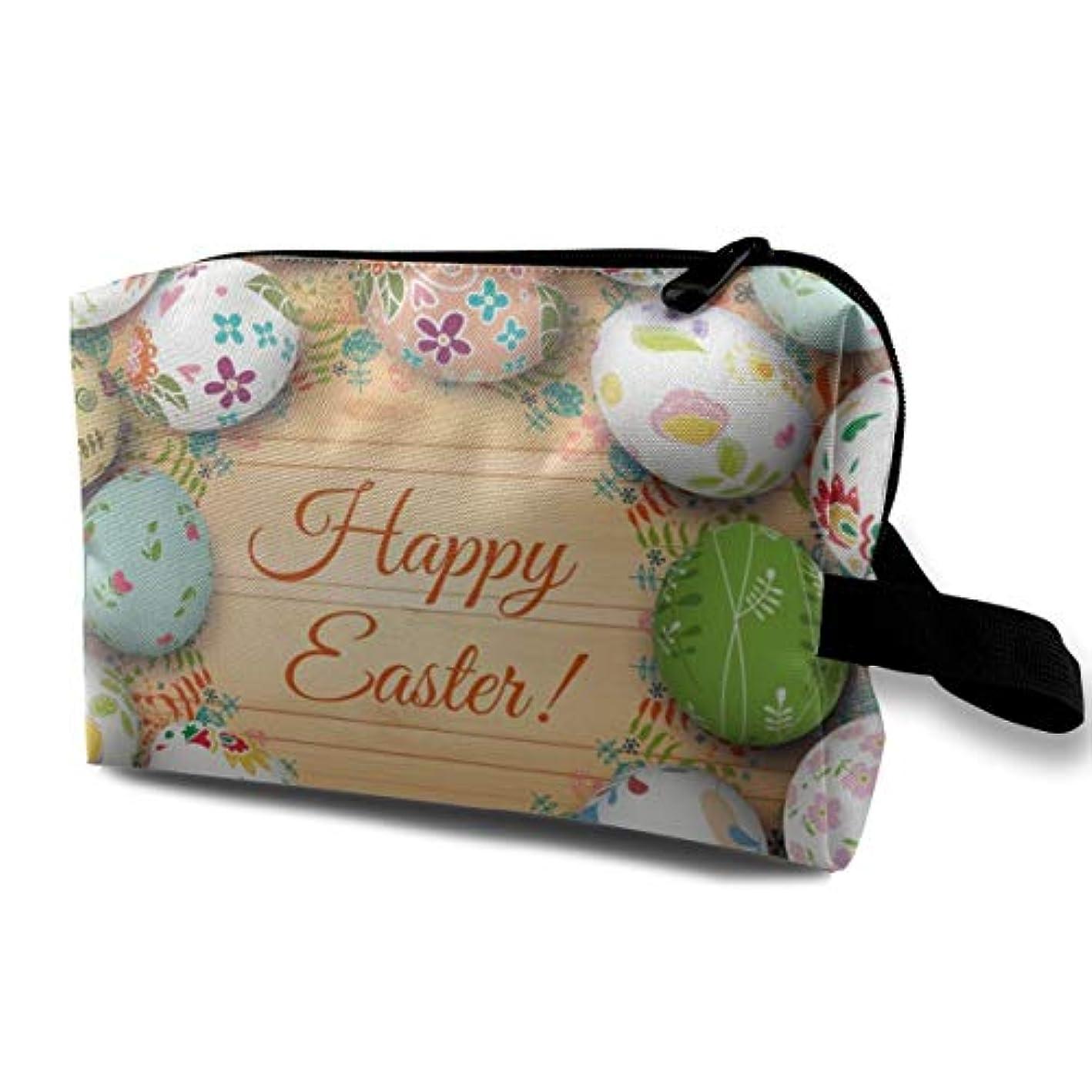 ハウス嵐が丘知っているに立ち寄るEaster Card And Eggs 収納ポーチ 化粧ポーチ 大容量 軽量 耐久性 ハンドル付持ち運び便利。入れ 自宅?出張?旅行?アウトドア撮影などに対応。メンズ レディース トラベルグッズ