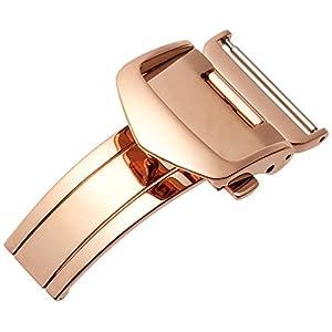 [バンビ]BAMBI Dバックル 時計ベルト用バックル 三つ折 バンビ BAMBI レザーベルト専用バックル ピンクゴールド 18mm ZP0007P ZP0007P