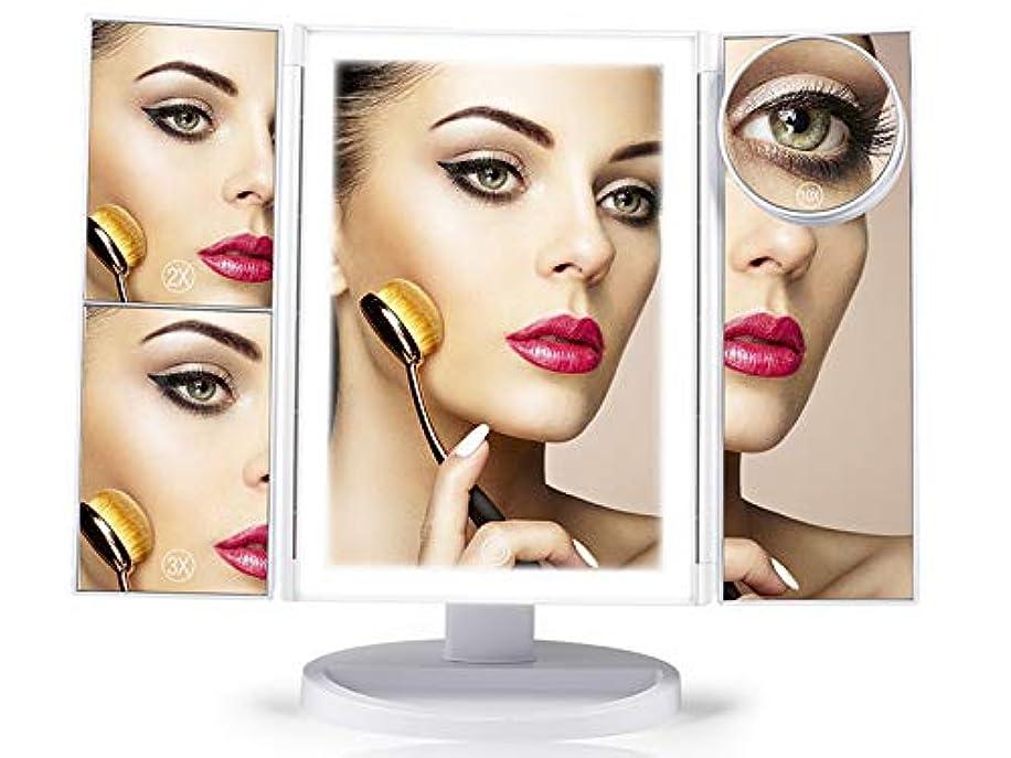 思いつくマリン所有者CRAIFE 卓上式三面化粧鏡 折りたたみ式三面鏡 明るさ調整LED 2倍/3倍/10倍拡大鏡付き (ホワイト)