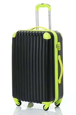 [Travelhouse]スーツケース キャリーケース 軽量 TSAロック ファスナータイプ 半鏡面仕上げ(S, black and green)