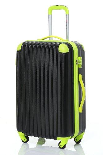 [Travelhouse]スーツケース キャリーケース 軽量 TSAロック ファスナータイプ 半鏡面仕上げ(SS, black and green)