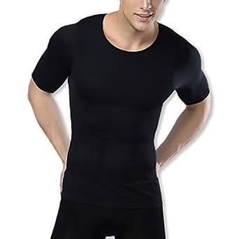 WHITE FANG(ホワイトファング) メンズ 加圧インナー 半袖 補正下着 シャツ 姿勢矯正 ダイエット 着圧 コンプレッションウェア 着痩せ Tシャツ WA004 (ブラック,M)