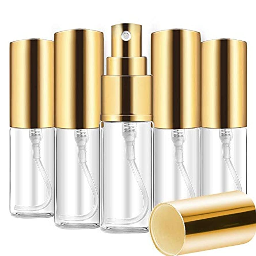 Aomgsd 香水噴霧器 香水アトマイザー スプレーボトル ガラス 香水詰め替え ミニ 携帯便利 軽量 上品 5ml 5本 (ゴールド)