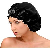 AQshop comfort silk ロングヘア用 シルク 100% ナイトキャップ つや髪 保湿 レディース LG (ロングヘア用, 01ブラック)