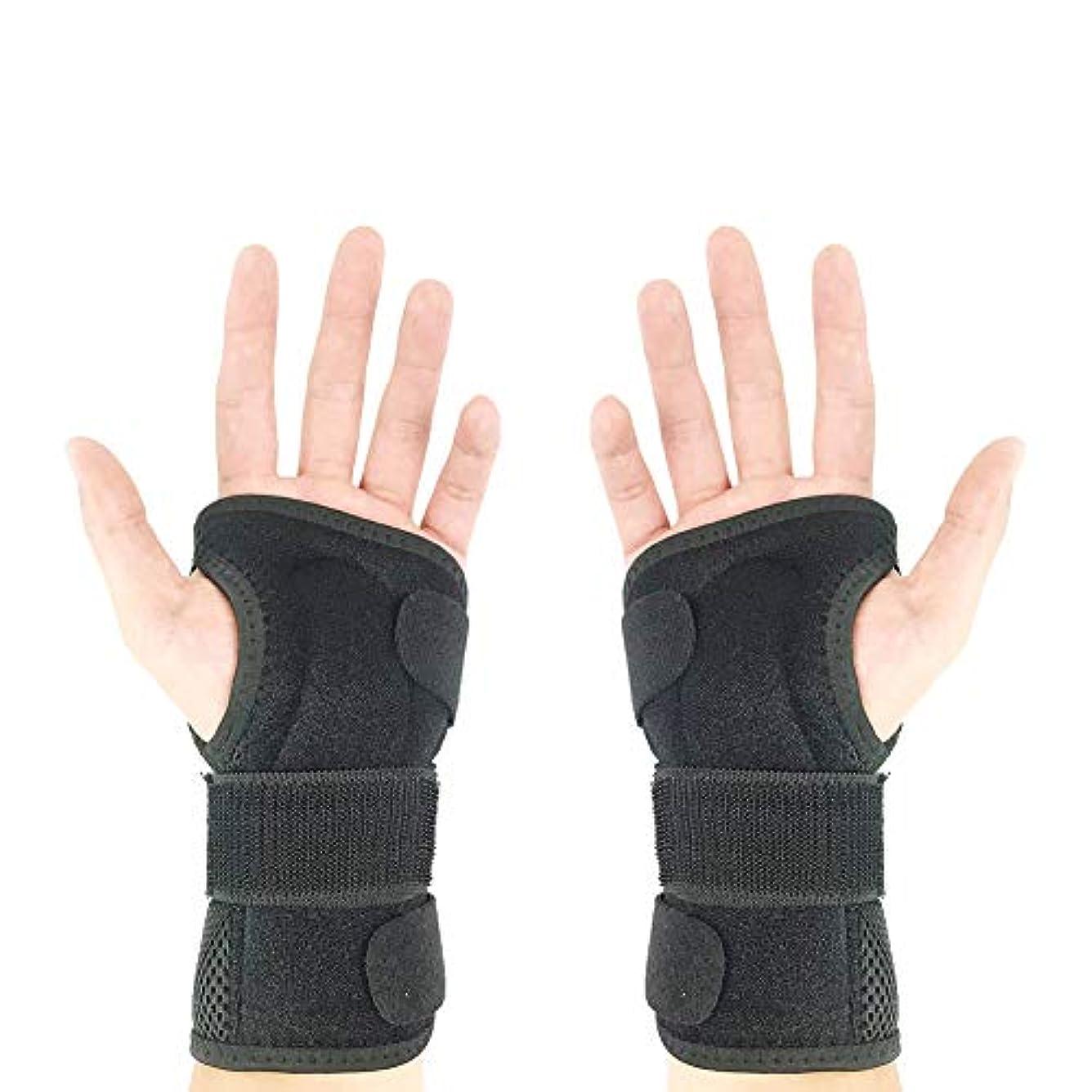 散歩に行くすごいにRadiya 手首 サポーター 手首 固定 通気サポーター 手首保護 捻挫 手根管症候群 腱鞘炎 骨折 サポーター 軽量2つアルミ製プレート 調節可能 フリーサイズ 男女兼用 (両手)