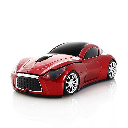 RUUNNER ワイヤレスマウス 無線マウス クール 車型 スポーツカー かっこいい コンパクト 小型 軽量 持ち運び便利 USB 2.4GHz 光学式 高精度 受信範囲10M 6色 (赤)