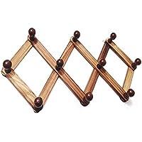 KTYX 木製伸縮ハンガー掛け掛け服ドアフックバッグ掛け壁掛け壁掛け壁掛け コートハンガー