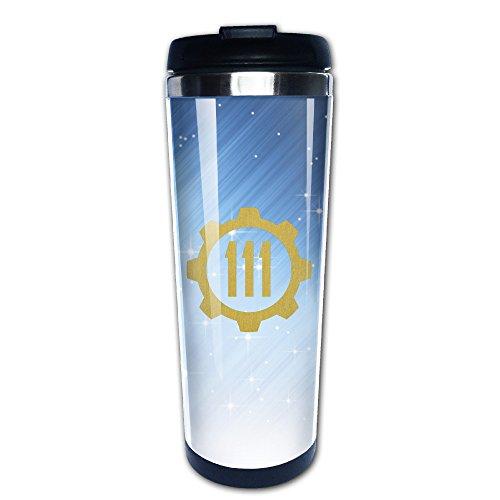 スタイリッシュな 面白い フォールアウト4 ロゴ コーヒーボトル 直飲み 保冷 保温 冷温両方対応 真空断熱タンブラー ステンレス フタ付き 手軽 Black Size -