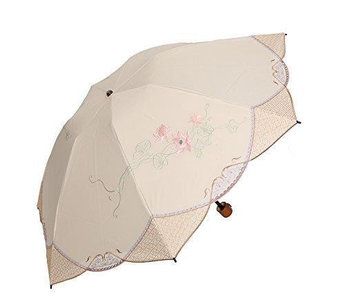 遮光蓮花刺繍ミニ折りたたみ日傘 (ベージュ)