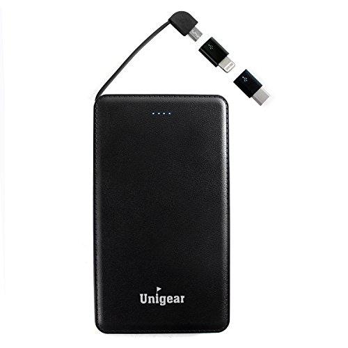 モバイルバッテリー 5000mAh 超軽量 コンパクト 超薄型 急速チャージ Type-Cアダプタ内蔵 USBケーブル付き 革のような質感(黒)