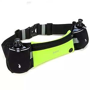 MYJP ウエストポーチ ランニング ポーチ ジョギング 防水防汗 ボディーバッグ ウエストバッグ 調整可能 ベルト スマートフォン 収納可能 二つの水ボトル(グリーンM)