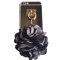 Spinas(スピナス) スマホケース iPhone 6/6s/6 plus/6s plus リング フラワー チャーム 花 ミラー 鏡 クリア 透明 キラキラ かわいい 指掛け 女子 ゴールド 全2色 グレー ピンク (6/6s, グレー(ミラー))