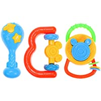 Domybest ラトル ガラガラ 赤ちゃん玩具 3点セット歯固め 振り玩具 フレンドベル 新生児 出産祝い プレゼント 可愛い 手の鳴らす鈴 色 聴覚に刺激 知育玩具 安全材料 3pcs