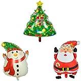 クリスマス 風船 クリスマススノーマンサンタツリーキットホイルバルーンクリスマスパーティー用25インチクリスマスプレゼント3パック