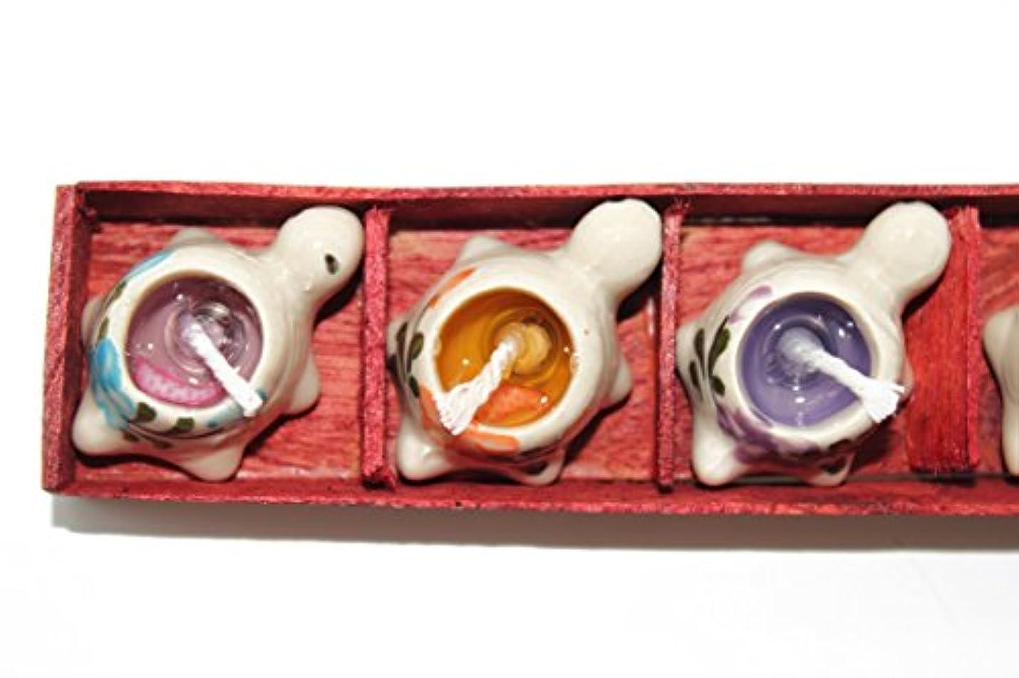 メイエラ遺伝子識別するハワイハンドプリントセラミックTurtleまたはHeart Candle Holder Set with 5 Scents One Size LIA-CD5TT