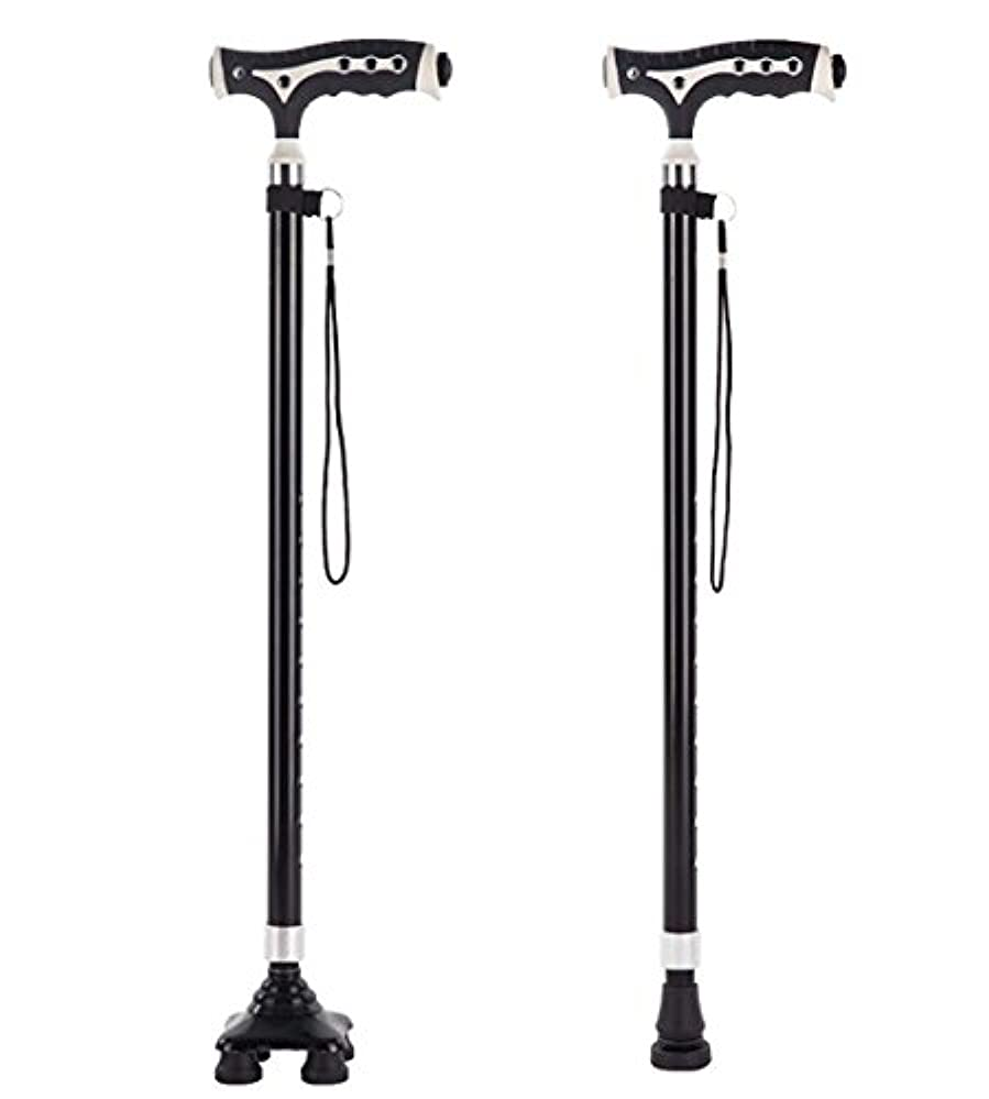 レンダリング最終的にキネマティクス引き込み式のアルミ合金ウォーキングスティック安全ウォーキングスティック LED 懐中電灯調整可能な高さ杖杖回転4つの尖った杖男性と Wome